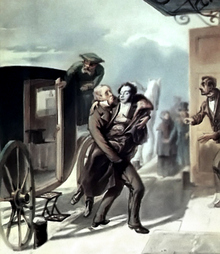 Pushkin returns from duel. Etching by P.Borel, 1855 (Image from www.a4format.ru)