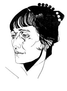 Anna Akhmatova in 1921, a portrait by Yury Annenkov (image from ahmatova.niv.ru)