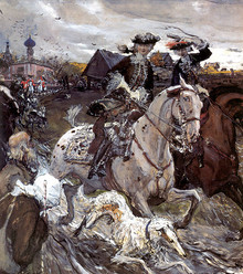 Peter II and Princess Elizabeth Petrovna Riding to Hounds. 1900.