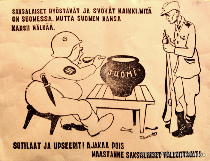 A sketch for a leaflet for the Finnish soldiers, B. Porokov, USSR, 1941