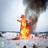 Maslenitsa set on fire.