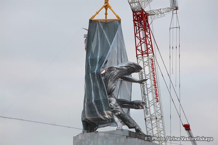 Unveiling Worker and Kolkhoz Woman monument after reconstruction