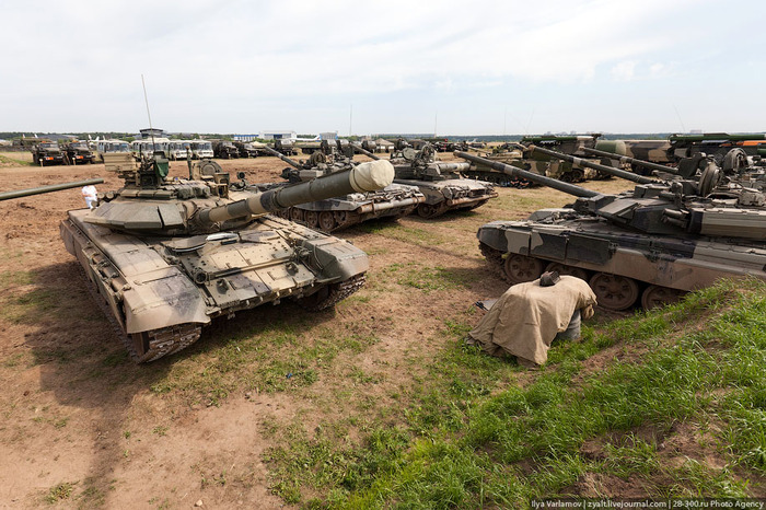 Tanks for the memories: At the demonstration area. T-90 tanks produced by UralVagonZavod plant are on the right.