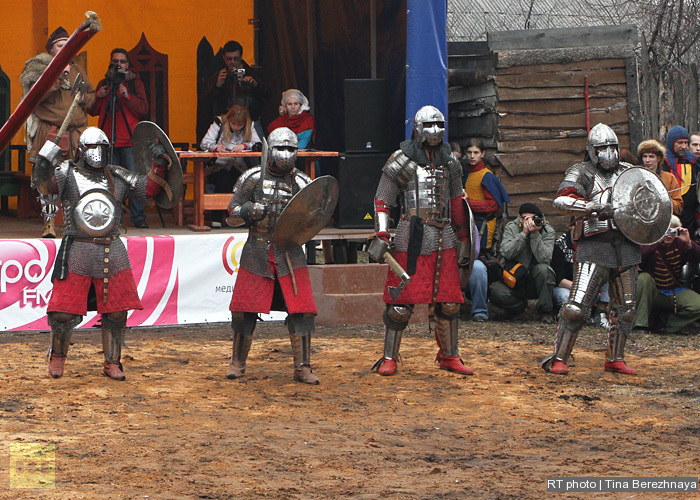 Knight fight: medieval sport for modern heroes: The fight between 5-man teams is called bugurt. Lining up for the fight.