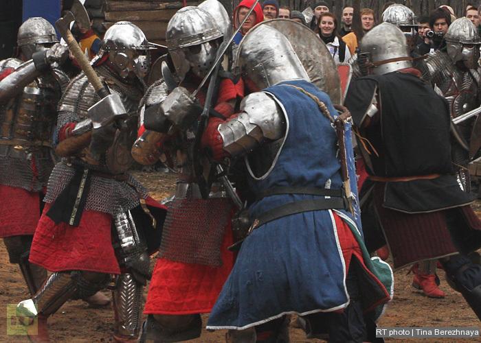 After combat the worriors do not shake hands - they rap gauntlets.