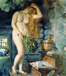Depiction in the mid 1920s of a rural banya by Russian artist Boris Kustodiev: Russian Venus.