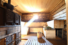 The interior of a typical Russian banya