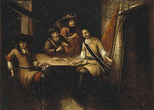 Великое посольство. 1697-1698. Беседа Петра I в Голландии. Неизвестный голландский художник. 1690-е гг.