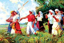Unkown Russian artist - Women of the Kolkhoz
