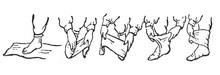 Схема наматывания портянок (Picture from http://v-dorogu.narod.ru/)