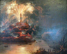 Unknown painter. Fireworks during visit of Catherine II of Russia to Crimea.