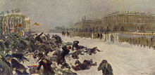Bloody Sunday. Shooting workers near the Winter Palace. Painting by Ivan Vladimiriv.