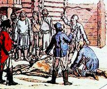 Наказание плетьми крепостного крестьянина.