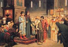 А. Кившенко.  Избрание Михаила Федоровича Романова на царство