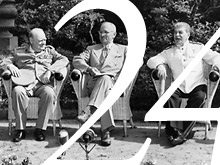 Winston Churchill (L), Harry Truman (C) and Joseph Stalin (R) at Potsdam Conference, 16 July - 2 August 1945.