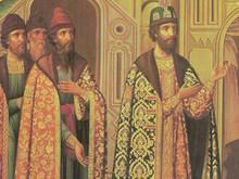 Грановитая палата, царь Федор Иоаннович в окружении бояр. Роспись южной стены.