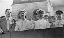 Gorky, Voroshilov, Kaganovich, Stalin on the tribune of the Lenin mausoleum.