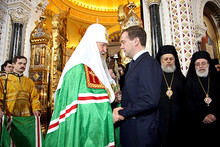 At the enthronement ceremony for Kirill, the Patriarch of Moscow and All Russia. (Photo from kremlin.ru)