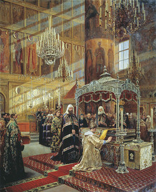Tsar Alexis Praying Before the Relics of Metropolitan Philip in the Presence of Patriarch Nikon.