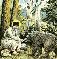 Seraphim of Sarov feeds a bear. Fragment of a lythography Way to Sarov. 1903