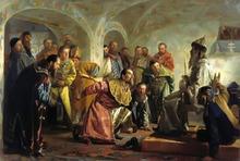 Oprichniki, painting by Nikolay Nevrev (image from art-portrets.ru)